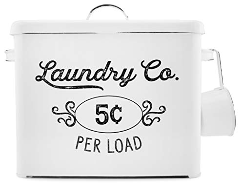 AuldHome Farmhouse Laundry Powder Container, White Enamelware Detergent Bin with Scoop