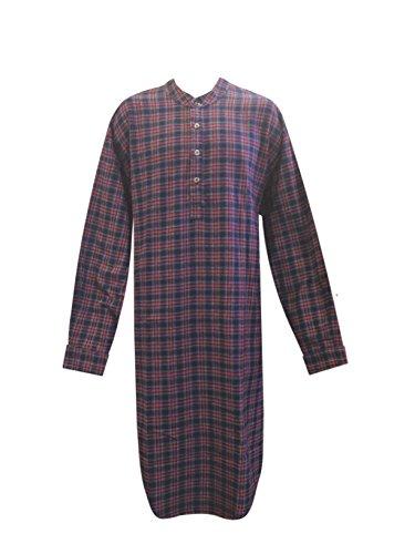 Lee Valley Genuine Irish Flannel Nightshirt, Men's (X-Large, Purple/Red Tartan)