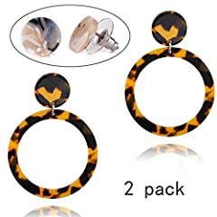 """Showfay Fashion Women's Mottled Hoop Earrings Bohemia Acrylic Resin Statement Earrings         Showfay JEWELRY is designed to """"Accompany and Witness Every Special Moment in Your Life"""". Showfay JEWELRY is concentrate on providing stylis..."""
