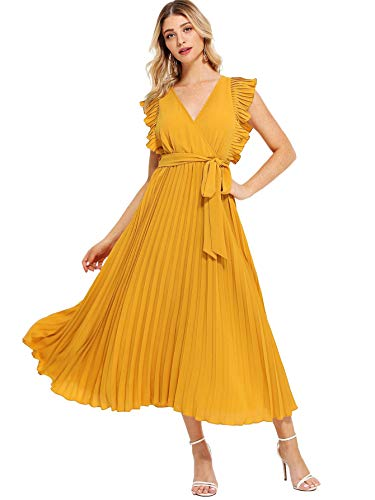 Milumia Women Ruffle Trim Wrap V Neck High Waist Fit and Flare Belted Pleated Maxi Dress Yellow