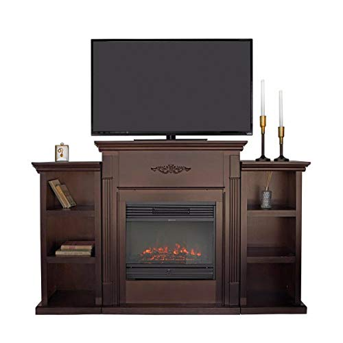 9TRADING Home Elegant Espresso with Electric Fireplace 5000 btu,Bookcases, TV Stand mantels