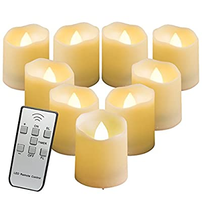 BEICHI 9 PCS Remote Control Flameless LED Votive Candles with Timer, Unscented Battery Operated Fake Candles, 3 Light Modes and 5 Brightness Levels, Amber Yellow Flicker Flame