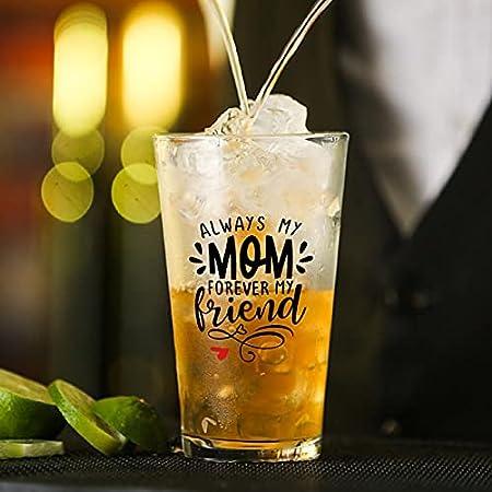 Vaso de cristal Always My Mom Forever My Friend para agua, zumo, cerveza, licor, whisky en boda, fiesta, día de la madre, día del padre, cumpleaños.