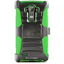 LG G4 Case, BUDDIBOX [HSeries] Heavy Duty Swivel Belt Clip Holster with Kickstand Maximal Protection Case for LG G4, (Green)