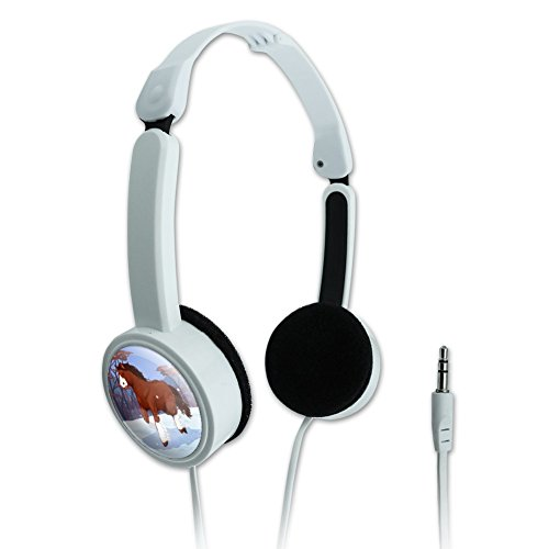 Clydesdale Horse Running in Snow Novelty Travel Portable On-Ear Foldable Headphones