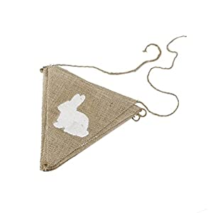 Tinksky Rabbit Shape Hessian Bunting Banner Easter Festival Banner Baby Shower Party Favors (Brown) from Tinksky