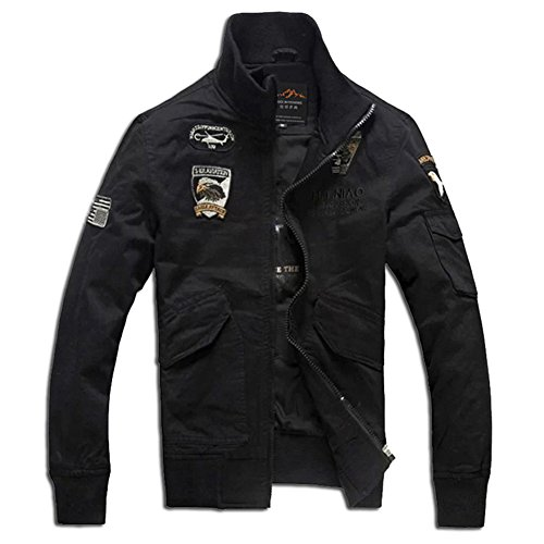 H.T.Niao Jacket8203C2 Men 's Air Force One Collar Jackets(Black,Size M) (Largo Metal Beds)