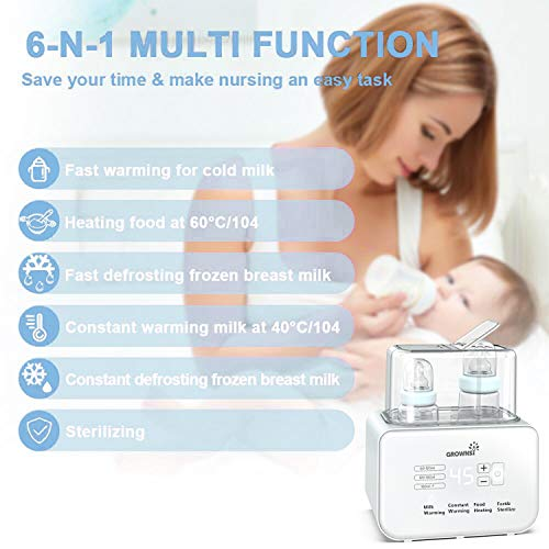 41eV bnzAwL - Baby Bottle Warmer, Bottle Sterilizer 6-in-1Fast Baby Food Heater&Defrost BPA-Free Warmer With LCD Display Accurate Temperature Control For Breastmilk Or Formula