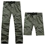 ASIbeiul Men's Outdoor Sports Casual Pants Trousers Solid Color Pocket Detachable Quick-Drying Pants Outdoor Sports (Army Green,L)