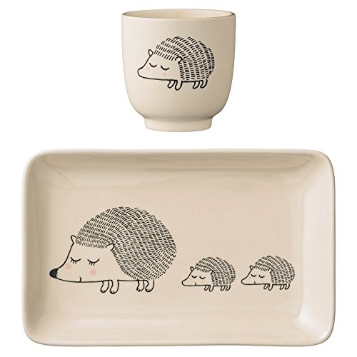Bloomingville A21100637 Ceramic Hedgehog Plate and Cup Set,