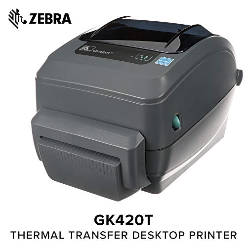 - Zebra - GX420t Thermal Transfer Desktop Printer for Labels, Receipts, Barcodes, Tags, and Wrist Bands - Print Width of 4 in - USB, Serial, and Ethernet Port Connectivity (Includes Cutter)