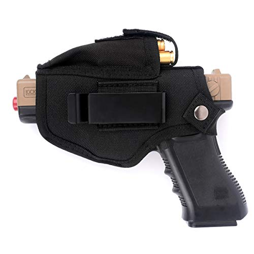 KOOPEEN Concealed Carry Holster Carry Inside or Outside The Waistband for Right and Left Hand Draw Fits Subcompact to Large Handguns with Magazine Pouch