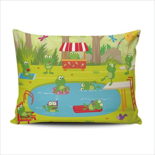 (DOUMIFA Cute Frogs Swimming Pool Party 20x30 Queen Throw Pillow Case Decor Cushion Covers One Sided Printed)