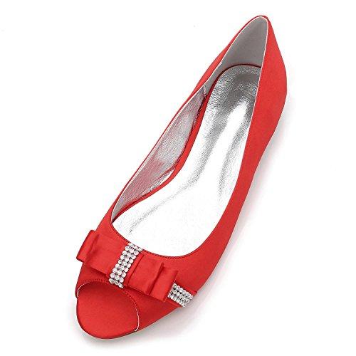 yc Mujer Para 5049 Dedo Red Del Low Satin Heel court Size Toe Pie Piedras L Boda Prom 13 Peep Redondo Shoes dfxtIqqw