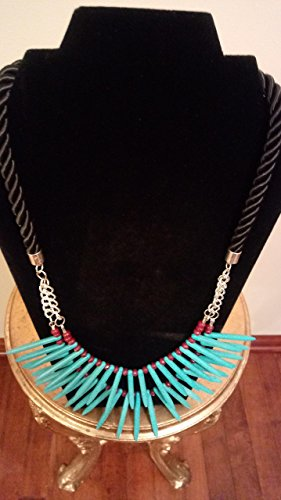 Turquoise Sticks with Genuine Ruby Rondelles Necklace