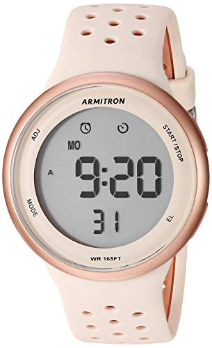 - Armitron Sport Unisex 40/8423PBH Digital Chronograph Rose Gold-Tone and Blush Pink Silicone Strap Watch