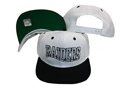Reebok Oakland Raiders Wave White/Black Two Tone Snapback Adjustable Plastic Snap Back Hat/Cap