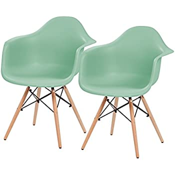 IRIS Mid Century Modern Shell Armchair With Wood Eiffel Legs, 2 Pack, Mint  Green