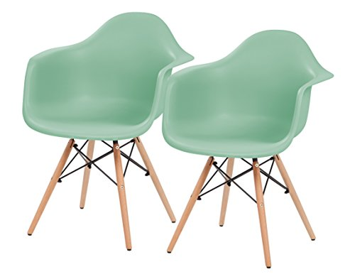 IRIS Mid-Century Modern Shell Armchair with Wood Eiffel Legs, 2 Pack, Mint Green
