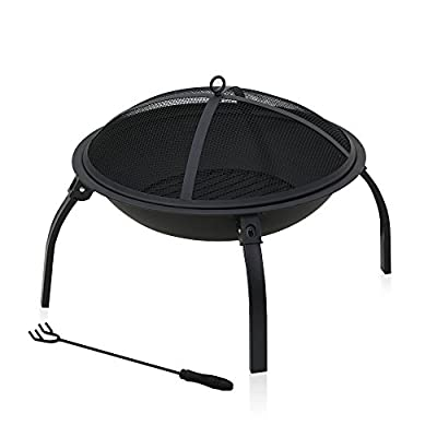 Furinno FPT17001 Outdoor Stylish Fire Pit with Foldable Legs - Simple stylish design, sturdy on flat surface and easy assembly. Product dimension: 22(W)x22(D)x15.75(H) High temperature of painting for fire bowl and mesh lid - patio, outdoor-decor, fire-pits-outdoor-fireplaces - 41eV1JQhFGL. SS400  -