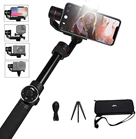 FeiyuTech 3-Axis Gimbal Stabilizer for Smartphone with 18cm Extensional Stick Handheld Gimbal for iPhone Samsung Android Phones for YouTube Film Selfie Live Streaming and Video Making Vimble 2S