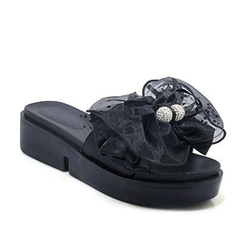 Women's amp;X Flop Black Chunky Heel nbsp; nbsp;Flip Casual Sandals Qin PxHSx