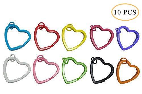 Hamosky Keychain Heart Shaped Aluminum Alloy Locking Snaphook Hook Holder (Ten Colors Keychain)