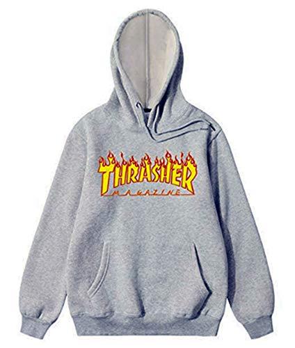 6de2ca1740b0 SIMPOYUYVE Thrasher Fashion Flame Mag Logo Hoodies Men s Pullover Long  Sleeve Sweatshirt with Pocket (Grey