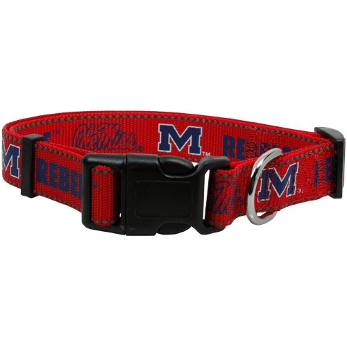 "Pet Goods Ole Miss Rebels Lg. Dog Collar Adj. 1"" 18-26in. Neck"