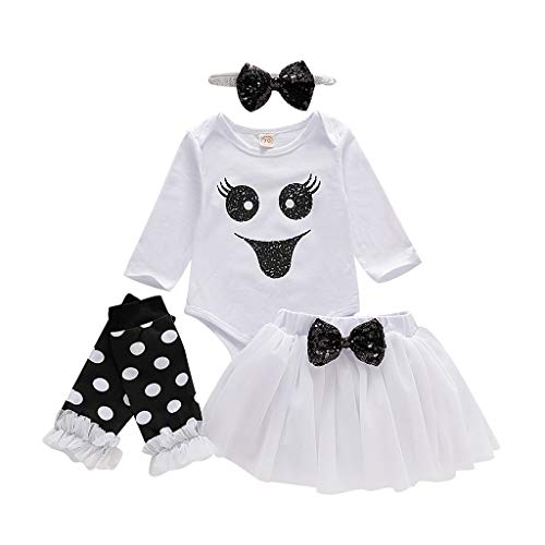 FEDULK Halloween Clothes Infant Baby Girls Romper Bodysuit+Tulle Skirts+Headband+Leg Warmers Outfits(White, 12-18 Months)