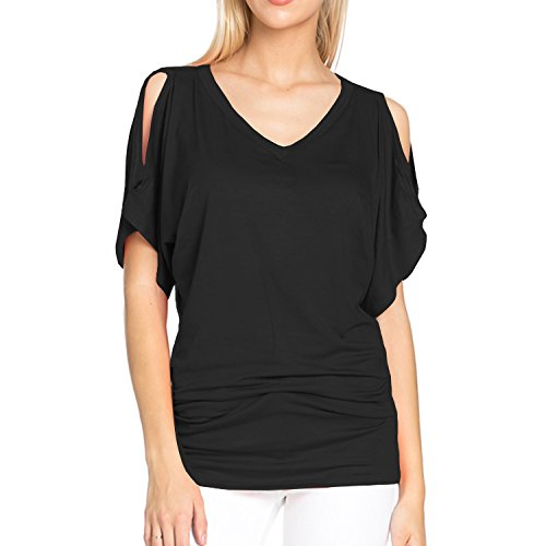 Boatneck Dolman Sleeve - Fashionazzle Women's Boatneck Dolman/Batwing Sleeve Open Shoulder Top XS to XL (X Large, Black)
