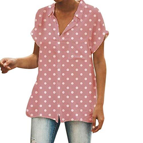 YKARITIANNA Women Turn-Down Collar Short Sleeve Pocket White Polka Dot Print Top T-Shirt