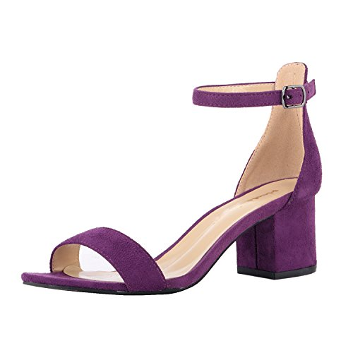 (Women's Strappy Chunky Block Low Heeled Sandals 2 Inch Open Toe Ankle Strap High Heel Dress Sandals Daily Work Party Shoes Velvet Purple Size 6)