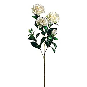 Afloral Silk Gardenia Flowers in White – 27″ Tall