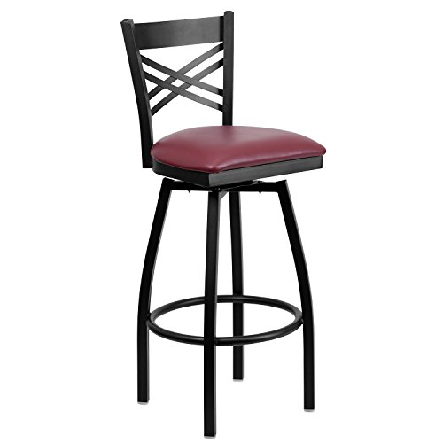 Flash Furniture HERCULES Series Black ''X'' Back Swivel Metal Barstool - Burgundy Vinyl Seat by Flash Furniture