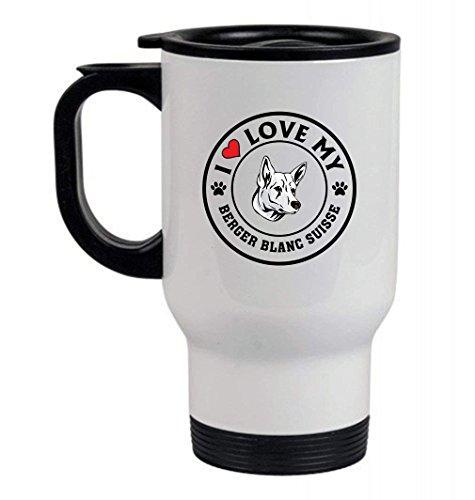 (Coffee Mug,Travel Mug,Beer mug -BILLY DOG I love my 14oz Stainless Steel Travel Mug White)