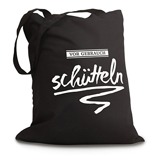 Schwarzer Jutebeutel VOR GEBRAUCH SCHÜTTELN