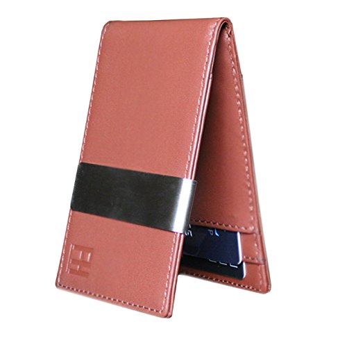 Brown Embossed Leather Money Clip - F&H Minimalist Slim Leather Wallet Money Clip Holds 8 Cards (Cognac Brown)