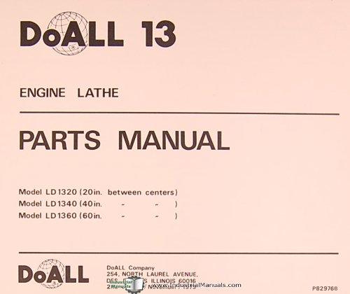 doall 13, ld 1320 40 60, engine lathe, parts manual doall Doall 13 Lathe Parts List