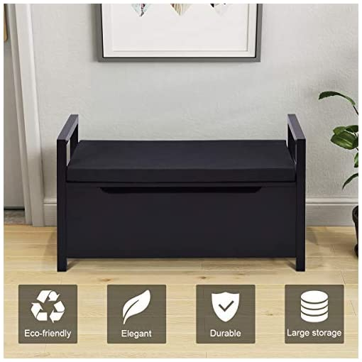 Entryway Giantex Shoe Storage Bench with Cushion, Entryway Storage Benches, End of Bed Bench for Bedroom, Wood Shoe Bench with…