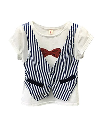 FANCYKIDS Toddler Boys Kids Children Bow Tie Vest Top Shirt (4 to 5 Years Old, White) by FANCYKIDS