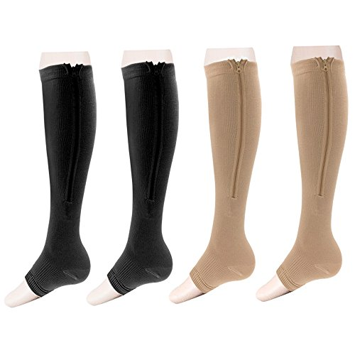 Zipper Compression Socks Toe Open for Varicose Veins and Edema , Unisex Zip Sox (2 pack) (Nude&Black, S/M)