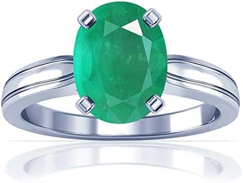 Platinum Oval Cut Emerald Solitaire Ring