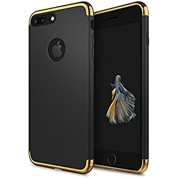 the latest 1d0d3 c479a iPhone 8 Plus Case, idutou 3-in-1 Sleek Thin and Slim Fit Shell Hard Cover  with 3 Detachable Parts for Apple iPhone 8+ Chrome Gold and Matte Black ...