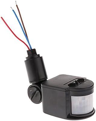 12m PIR Detector Sensor de Movimiento Por Infrarrojos Luz LED Al Aire Libre RF AC85V~265V BLK