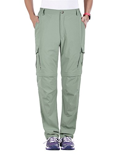 Nonwe Women's Outdoor Quick Dry Convertible Hiking Jogger Cargo Pants Light Green L/30.5