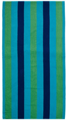 Cotton Craft - 2 Pack Terry Beach Towel 30x60 - Cabana Stripe Navy Green Turquoise - 400 GSM - 100% Pure Ringspun Cotton - Brilliant intense vibrant colors - Highly absorbent easy care machine wash