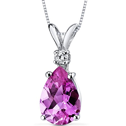 (14 Karat White Gold Pear Shape 2.50 Carats Created Pink Sapphire Diamond Pendant)