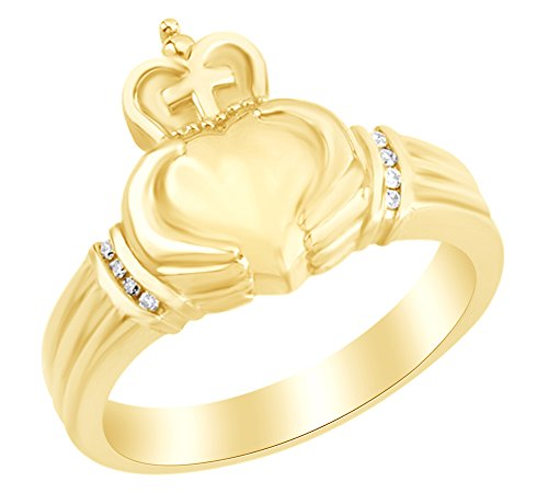 White Natural Diamond Cross Claddagh Men's Ring in 14k Yellow Gold Ring Size : 11.5