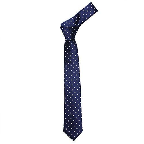 Mens Shinny Ties Polka Dots Polyester Necktie with Tie Bar Clip (2.5 inch Necktie) by HAWSON (Image #2)
